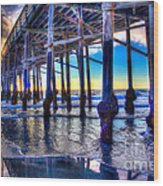 Newport Beach Pier - Low Tide Wood Print