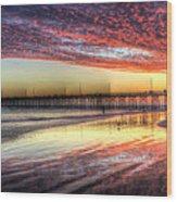 Newport Beach Pier Sunset Wood Print