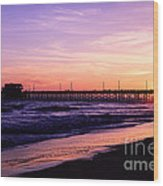 Newport Beach Pier Sunset In Orange County California Wood Print by Paul Velgos