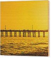 Newport Beach Pier Sunset Panoramic Photo Wood Print
