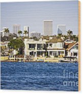 Newport Beach Skyline And Waterfront Homes Picture Wood Print by Paul Velgos