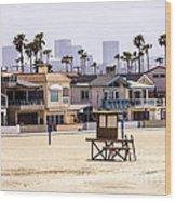 Newport Beach Skyline And Waterfront Luxury Homes Wood Print