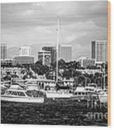Newport Beach Skyline Black And White Picture Wood Print by Paul Velgos