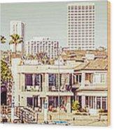 Newport Beach Skyline Vintage Panorama Wood Print