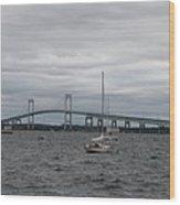 Newport Bridge With Newport Harbor Light Wood Print