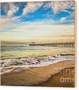 Newport Pier Photo In Newport Beach California Wood Print by Paul Velgos