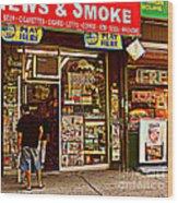 News And Smoke - Play Here Wood Print
