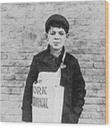 Newspaper Boy Wood Print