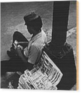Newspaper Boy Mexico City D.f. Mexico 1970 Wood Print