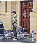 Newspaper Seller Wood Print