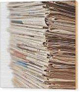 Newspaper Stack Wood Print