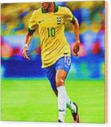 Neymar Soccer Football Art Portrait Painting Wood Print