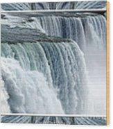 Niagara Falls American Side Closeup With Warp Frame Wood Print
