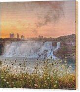 Niagara Falls Canada Sunrise Wood Print
