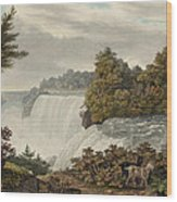 Niagara Falls Circa 1829 Wood Print by Aged Pixel