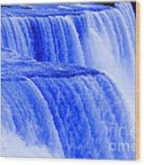 Niagara Falls Closeup In Blue Wood Print