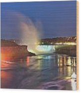 Niagara Falls Night Lights Panorama Wood Print