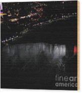 Niagara Falls Nightly Illumination Aerial View Wood Print
