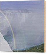 Niagara Falls With Winter Rainbow Wood Print