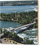 Niagara River And Goat Island Aerial View Wood Print