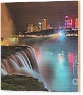 Niagara Starbust Skyline Panorama Wood Print
