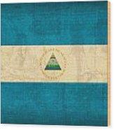 Nicaragua Flag Vintage Distressed Finish Wood Print