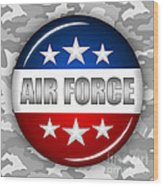 Nice Air Force Shield 2 Wood Print by Pamela Johnson