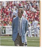 Nick Saban Head Football Coach Of Alabama Wood Print by Mountain Dreams