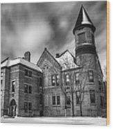 Nicolet School In Black And White Wood Print