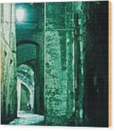 Night Alley In Old City Of Siena Tuscany Italy Wood Print