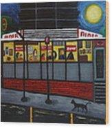 Night At An Arlington Diner Wood Print by Victoria Lakes