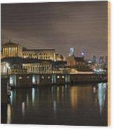 Night At Fairmount Waterworks And The Philadelphia Art Museum Wood Print