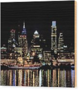Night At Penn's Landing - Philadelphia Wood Print