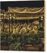 Night At The Cafe - Taormina - Italy Wood Print
