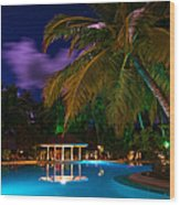 Night At Tropical Resort Wood Print