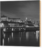 Night At Waterworks In Black And White Wood Print