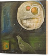 Night Bird Harvest Moon Wood Print