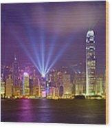 Night Cityscape Of Hongkong Wood Print