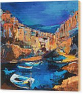 Night Colors Over Riomaggiore - Cinque Terre Wood Print by Elise Palmigiani
