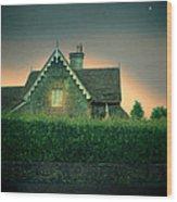 Night Cottage Wood Print