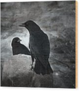Mysterious Night Crows Wood Print