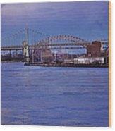Night Descends Over The Triboro Bridge - Nyc Wood Print