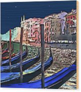 Night Falls In Venice Wood Print