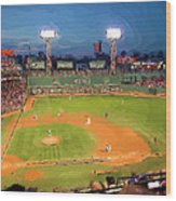 Night Fenway Pop Wood Print