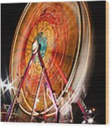 Night Ferris Wheel 3 Wood Print