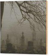 Dark Rolling Night Fog Wood Print