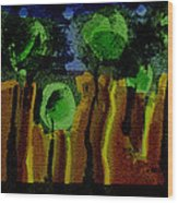 Night Forest Tapestry Wood Print