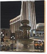 Night Glow At The Venetian Las Vegas Wood Print
