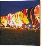 Night Glow Hot Air Balloons Wood Print