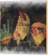 Night Glowing Hot Air Balloons Photo Art Wood Print